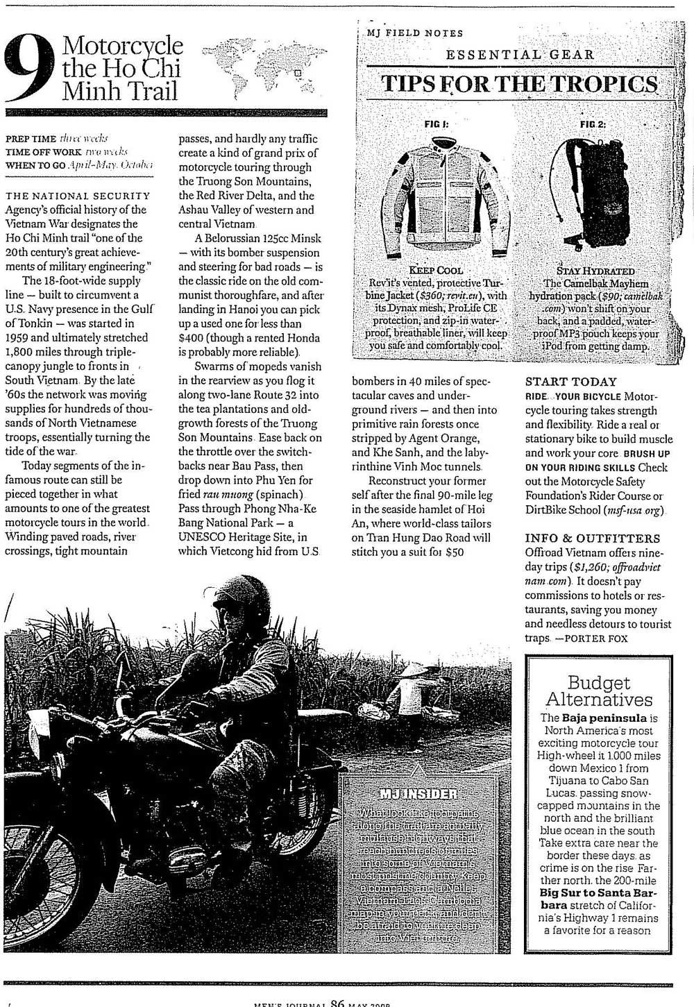 Men's Jornal about HCMT motorcycling