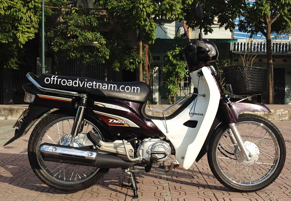 Offroad Vietnam Scooter Rental - 2014 Honda Super Dream 110cc Rental In Hanoi. 2014 Honda Super Dream 110cc Rental In Hanoi, Brown color, drum brakes and front basket.