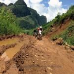 Vietnam motorbike tours, Vietnam motorcycle tours. Challenging dirt bike tour in the Northeast after a landslide.