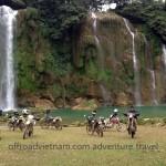 Ban Gioc waterfalls, on the Vietnam-China border. Dirt bike travel in Vietnam.