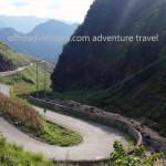 Vietnam motorbike tours, Vietnam motorcycle tours. Snake way in Ha Giang, a sharp turn!