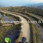 Sapa via a rice field track on dirt bikes with Offroad Vietnam